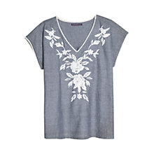 Buy Violeta by Mango Contrast Floral Embroidery Blouse, Medium Blue Online at johnlewis.com