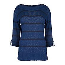 Buy Violeta by Mango Slub Striped Jumper, Navy Online at johnlewis.com