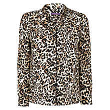 Buy Violeta by Mango Leopard Print Blouse, Black Online at johnlewis.com