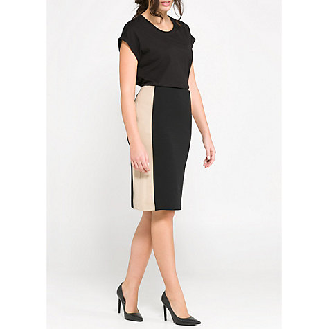 Buy Violeta by Mango Bicolour Fitted Skirt, Black/Cream Online at johnlewis.com