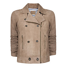 Buy Violeta by Mango Double-Breasted Nubuck Jacket, Mink Online at johnlewis.com