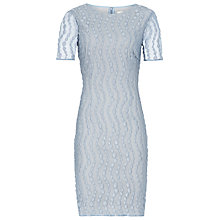 Buy Reiss Amelie Lace Textured Dress, Light Blue Online at johnlewis.com