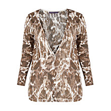 Buy Violeta by Mango Printed Linen Blend Cardigan, Beige/Khaki Online at johnlewis.com