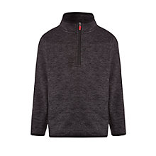 Buy John Lewis Boy Half Zip Textured Fleece, Charcoal Online at johnlewis.com