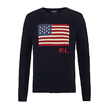 Buy Polo Ralph Lauren Boys Flag Jumper, Navy Online at johnlewis.com