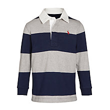 Buy Polo Ralph Lauren Boys' Stripe Rugby Polo Shirt, Navy/Grey Online at johnlewis.com
