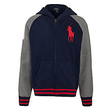 Buy Polo Ralph Lauren Contrast Arm Zip-Through Hoodie, Navy/Grey Online at johnlewis.com