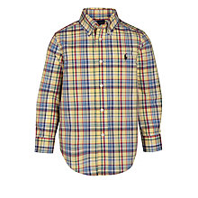 Buy Polo Ralph Lauren Boys' Blake Check Long Sleeve Shirt, Yellow Online at johnlewis.com