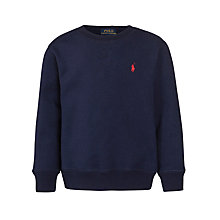 Buy Polo Ralph Lauren Boys' Long Sleeve Sweatshirt, Navy Online at johnlewis.com