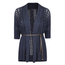 Buy Violeta by Mango Belted Cardigan, Navy Online at johnlewis.com