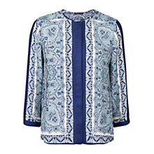 Buy Violeta by Mango Scarf Print Blouse, Navy Online at johnlewis.com
