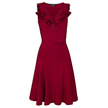 Buy Lauren Ralph Lauren Markey V-Neck Dress, Bright Merlot Online at johnlewis.com