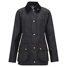 Buy Barbour Chamber Beadnell Wax Jacket, Black/Bilsworth Online at johnlewis.com