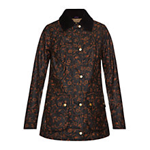 Buy Barbour Poet Waxed Jacket, Black/Merlot Online at johnlewis.com