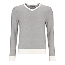 Buy Tommy Hilfiger New York Cotton Rich V-Neck Jumper, Snow White Online at johnlewis.com