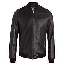 Buy Pretty Green Gaston Leather Bomber Jacket, Black Online at johnlewis.com