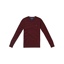 Buy Tommy Hilfiger Pima V-Neck Jumper, Walnut Heather Online at johnlewis.com