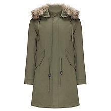 Buy Pretty Green Base Fixed Parka, Khaki Online at johnlewis.com
