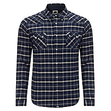 Buy Pretty Green Winter Check Cotton Shirt, Blue Online at johnlewis.com