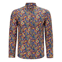 Buy Pretty Green  Paisley Cotton Shirt, Blue Online at johnlewis.com