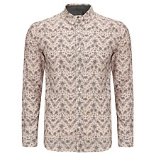 Buy Pretty Green Bird and Floral Cotton Shirt, Nude Online at johnlewis.com
