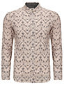 Pretty Green Bird and Floral Cotton Shirt, Nude