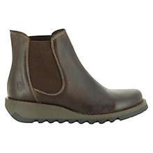 Buy Fly Salv Wedge Leather Ankle Boots, Dark Brown Online at johnlewis.com