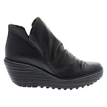 Buy Fly Yip Ruched Wedge Heel Boots, Black Online at johnlewis.com