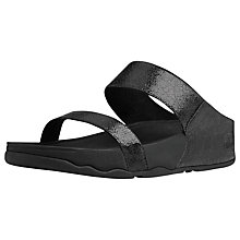 Buy FitFlop Lulu Lustra Leather Two Strap Sandals, Black Metallic Online at johnlewis.com