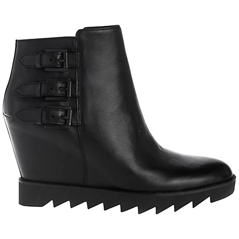 Buy Ash Iggy Wedged Leather Ankle Boots, Black Online at johnlewis.com