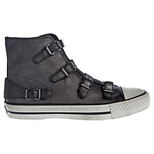 Buy Ash Virginy High Top Leather Trainers, Black Online at johnlewis.com