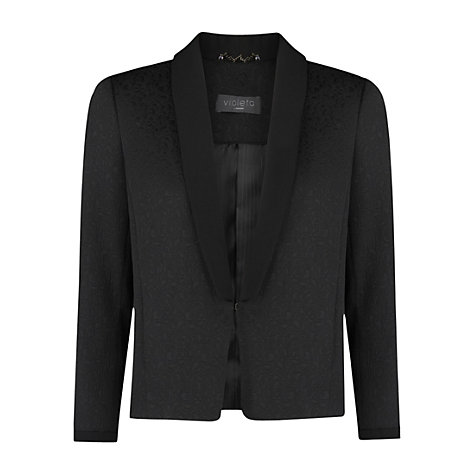Buy Violeta by Mango Jacquard Blazer, Black Online at johnlewis.com