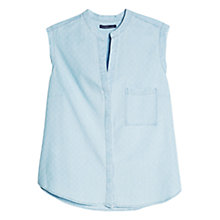 Buy Violeta by Mango Rhombus-Patterned Denim Shirt, Light Pastel Blue Online at johnlewis.com