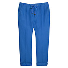Buy Violeta by Mango Linen Blend Crop Trousers, Cornflower Blue Online at johnlewis.com