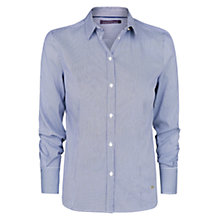 Buy Violeta by Mango Striped Cotton-Blend Shirt, Navy Online at johnlewis.com