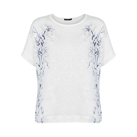 Buy Violeta by Mango Floral Linen T-Shirt, Natural White Online at johnlewis.com