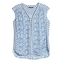Buy Violeta by Mango Motif Print Sleeveless Blouse, Blue Online at johnlewis.com