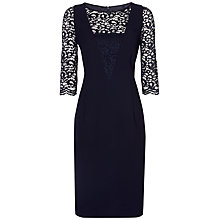 Buy Jaeger Lace Crepe Dress, Navy Online at johnlewis.com