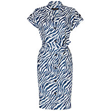 Buy Jaeger Zebra Print Linen Dress, Ivory/Navy Online at johnlewis.com