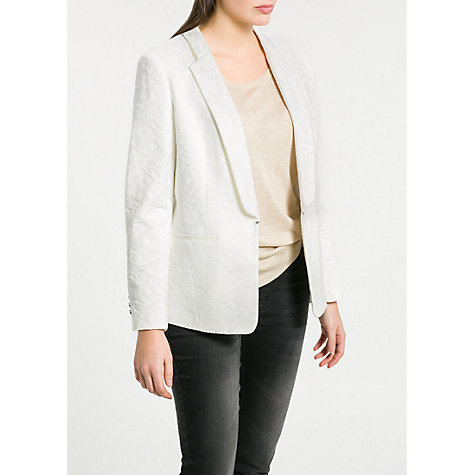 Buy Violeta by Mango Baroque Jacquard Blazer, Natural White Online at johnlewis.com
