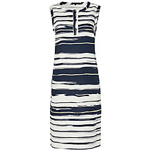 Buy Jaeger Stripe Print Linen Dress, Ivory/Navy Online at johnlewis.com