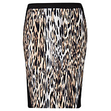 Buy Violeta by Mango Leopard Panel Skirt, Black Online at johnlewis.com