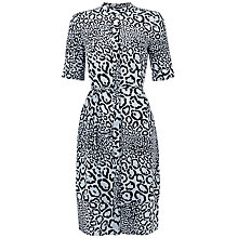 Buy Jaeger Leopard Tie Waist Dress, Pale Blue Online at johnlewis.com