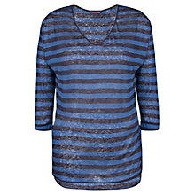 Buy Violeta by Mango Striped Linen T-Shirt, Navy Online at johnlewis.com