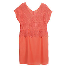Buy Violeta by Mango Guipure Bodice Dress, Coral Online at johnlewis.com