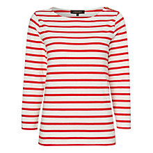 Buy Jaeger Button Shoulder Stripe Top Online at johnlewis.com