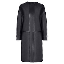Buy Jaeger Perforated Leather Coat, Navy Online at johnlewis.com