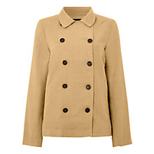 Buy Jaeger Linen Pea Coat, Natural Online at johnlewis.com