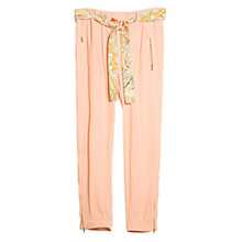 Buy Violeta by Mango Printed Belt Trousers, Light Peach Online at johnlewis.com
