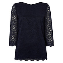 Buy Jaeger Lace Top, Navy Online at johnlewis.com